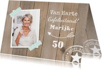 Verjaardagskaart foto houtprint