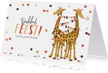 Verjaardagskaart giraf tweeling dubbel feest slingers hoera