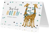 Verjaardagskaart giraf tweeling dubbel feest slingers