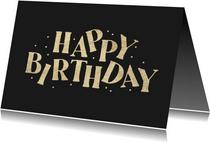 Verjaardagskaart happy birthday goud confetti