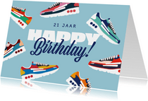 Verjaardagskaart Happy Birthday sneakers sport