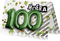 Verjaardagskaarten - Verjaardagskaart hoera ballon 100