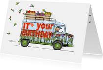 Verjaardagskaart HY bus tulpen
