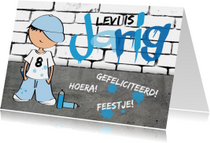 Verjaardagskaart jongen stoer graffiti
