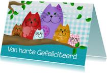 Verjaardagskaart Katten in  boom