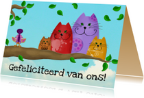 Verjaardagskaart katten op tak