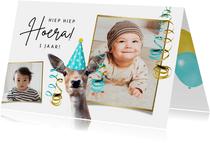 Verjaardagskaart kind 1 jaar met hert en slingers
