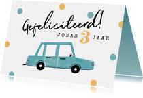Verjaardagskaart kind auto confetti gefeliciteerd