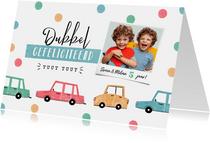 Verjaardagskaart kind auto's confetti tweeling