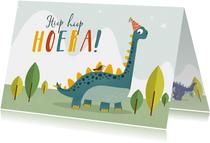 Verjaardagskaart kind dino brontosaurus vogel feestje