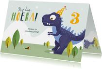 Verjaardagskaart kind dino t-rex dinosaurus feestje
