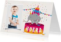 Verjaardagskaart kind feest olifant confetti slingers foto