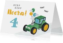 Verjaardagskaart kind jongen tractor ballonnen