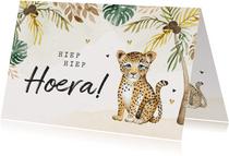 Verjaardagskaart kind jungle dieren luipaard
