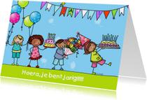 Verjaardagskaart kinderen taart ballon