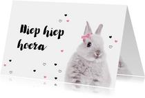 Verjaardagskaart - Konijntje met strikje - Hiep Hiep Hoera