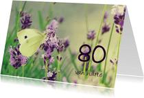 Verjaardagskaart koolwitje 80
