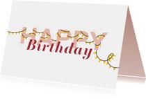Verjaardagskaart letters met slingers