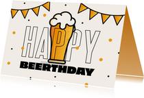 Verjaardagskaart man bier Happy Beerthday slingers confetti