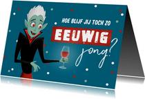 Verjaardagskaart man humor wijn confetti vampier