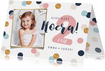 verjaardagskaart meisje confetti goud vrolijk