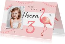 Verjaardagskaart meisje flamingo slingers hartjes foto