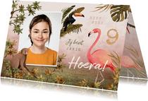 Verjaardagskaart meisje jungle tropisch dieren