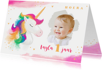 Verjaardagskaart meisje waterverf unicorn goud