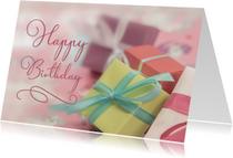 Verjaardagskaart met cadeautjes