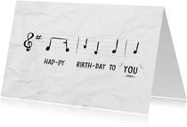 Verjaardagskaart met muzieknoten van happy birthday to you