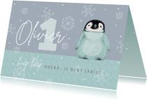 Verjaardagskaart met pinguïn in het blauw