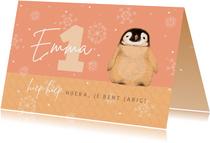 Verjaardagskaart met pinguïn in het roze
