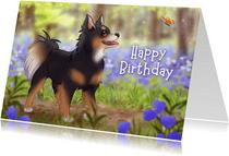 Verjaardagskaart met schattige chihuahua en vlinder