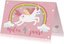 Verjaardagskaart met unicorn en regenboog