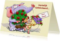 Verjaardagskaart olifant en muis met bloemen