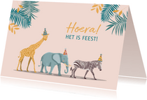 Verjaardagskaart olifant giraf en zebra meisje