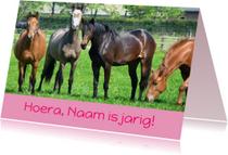 Verjaardagskaart paarden in wei