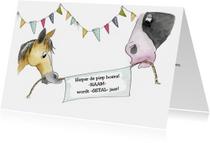 Verjaardagskaarten - Verjaardagskaart paarden met spandoek