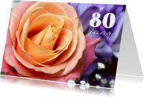 Verjaardagskaart roos v 80 jaar
