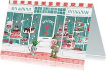 Verjaardagskaart roze met turquoise taart winkel