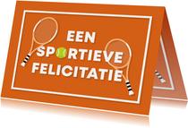 Verjaardagskaart sportieve felicitatie tennis