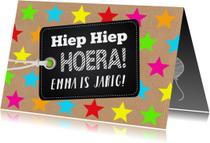 Verjaardagskaart sterren kraft labelprint