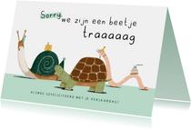 Verjaardagskaart te laat beetje traag slak schildpad worm
