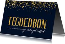 Verjaardagskaart tegoedbon verjaardagsknuffel goud confetti