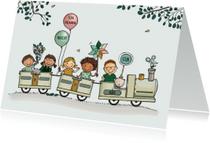 Verjaardagskaart trein kinderen