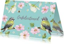 Verjaardagskaarten - Verjaardagskaart Twee vogels bloemen