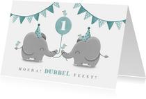 Verjaardagskaart tweeling olifantjes met ballon en slingers