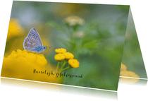 Verjaardagskaart vlinder op gele bloemen