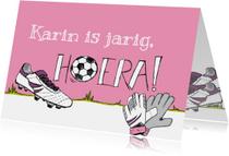 Verjaardagskaart voetbal en naam