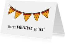 Verjaardagskaart voor pizzaliefhebbers met slinger van pizza